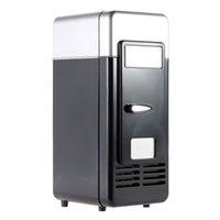frigoríficos azules al por mayor-Mini USB Refrigerador Refrigerador Bebidas Bebidas Latas Más frío Calentador Luz azul LED