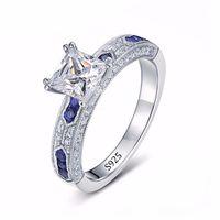 anéis barrocos venda por atacado-Luxo Princesa Corte 1 Ct CZ Diamant Anel De Casamento Set Sólido 925 Sterling Silver Baroque Anel Mulheres Jóias