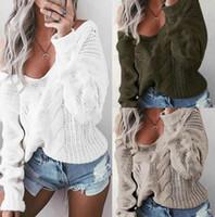 ingrosso maglioni delle donne oversize-Moda Donna Sexy scollo a V oversize maglione saltato maglia maglione in fondo S-3XL Casual Pullover Blouse