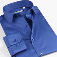 ticari uyuşur toptan satış-Artı Boyutu XS-5XL 6XL Pamuk Erkek Gömlekler Ticari Erkek Uzun Kollu Slim Fit Gömlek erkek Giyim SFL4A47
