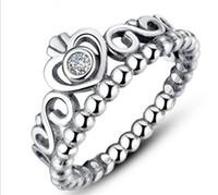 anéis estilo coroa venda por atacado-925 Coroa De Prata Anéis De Casamento Para As Mulheres Estilo Pandora Princesa Anéis Tiara Crown Anel De Noivado De Casamento R217