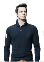 sıcak polo gömlek ince toptan satış-2018 Yeni sıcak satış 19 renk Polo Gömlek Erkekler Büyük küçük At timsah katı Uzun Kollu Yaz Casual Polo Erkek Ince Polos Casual Gömlek M-4XL