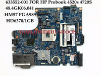 Wholesale Laptop Motherboard Hp Probook - High quality 48.4GK06.041 for HP Probook 4520S 4720S laptop Motherboard 633552-001 HM57 PGA989 DDR3 HD6370 1GB 100% Fully Tested