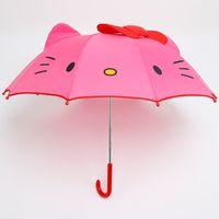 kinder automatischer regenschirm großhandel-Cartoon Hallo Kitty Langstieligen Regenschirm Faltbare Kinder Kinder Mädchen Cartoon Halbautomatische Sonnenschirm Brithday Geschenk F2