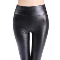 siyah deri gerdirme tozlukları toptan satış-2018 Artı Boyutu Deri Tayt Kadınlar Yüksek Bel Tayt Streç Ince Siyah Legging Moda PU Deri Pantolon Kadınlar Yüksek Kalite Hotsale