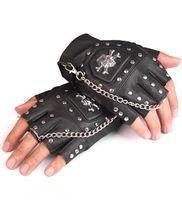 halbfingerhandschuhe großhandel-Mens Halbfinger-Handschuhe Hip-Hop Schädel Handschuhe Persönlichkeit Punk Leder Kette Herren fingerless Niet Handschuh