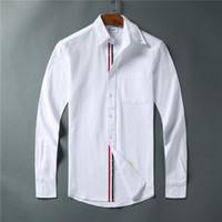 nuevas camisas de los hombres de la cinta al por mayor-Nueva llegada clásico para hombre diseñador camisetas Tri Color Ribbon moda TB manga larga browne sudadera para hombre novia