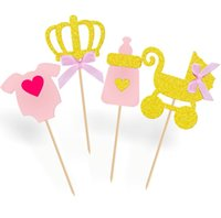 Wholesale baby shower cake decorations boy for sale - Group buy 2018 Gold Glitter Oh Baby Cake Topper St Birthday for Girl Boy Cake Toppers Kids Party Baby Shower Decorations