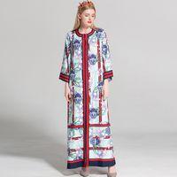 Wholesale Dress Maxi Runway - New Arrival 2018 Women's O Neck 3 4 Sleeves Loose Design Floral Printed Pajamas Sash Belt Striped Fashion Designer Long Casual Dresses