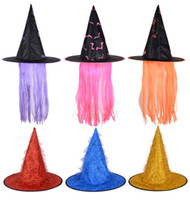 Wholesale pink gold hair accessories online - Hot Sale Halloween Witches Hats with Hairs Colorful Festival Performance Costume Hat for Women