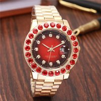 Wholesale rubies watch - Business Diamond Watches women Luxury brand Automatic calendar big ruby Rhinestone red dial Ladies Rose Gold Watch aaa Stainless steel clock