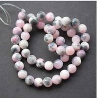 piedra gris al por mayor-48pcs / Lot 8mm cuentas de piedra Bosi Stone abigarrado Pink Grey Tone Fashion Beads para pulsera collar