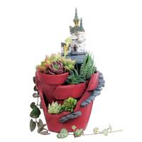 ingrosso giardino fiorito a fiore-Resina Nuovo Arrivo Magic Castle Vasi da fiori Resina Vaso da fiori Succulente Vasi da giardino Fata Giardino Bonsai Fioriera Giardino domestico Decorazione