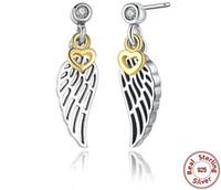 925 federohrringe großhandel-Sterling Silber 925 Herzen und Federformen Diamant Prong Einstellung Schmuck Ohrringe Stud für Mode Damen in Aktien
