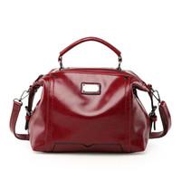 масло для сумок оптовых-Bags For Women Handbag Female  Designer Shoulder Bag Casual Shopping Tote Wax Oil PU Leather Handbags Solid Crossbody Bags