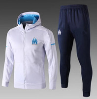 Wholesale Tights Coat - AAA+ Marseille Tracksuit Suit Men Adults OM jacket Tops Coat Pants Sports tight pants 2017 2018 survetement Training suit