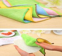 Wholesale Home Furniture Glass - Microfiber Dish Cloth Cleaning Towel Kitchen Washing Cloth Towels Two Side Scouring Pad Multifuntion Durable DDA263