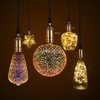filament ampuller toptan satış-3D Fireworks Etkisi Vintage Akkor Ampuller E27 110 V-220 V Retro Edison lamba Filament ışık Bakır Tel Dize ev Dekorasyon