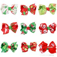 Wholesale christmas hairclips - Baby Girls Christmas Hair Clips 8 colours Christmas Gift Hairclips Kids Party Bows Hair Clips Childrens Hair Accessories KFJ16