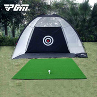 golf trainingsnetze großhandel-PGM Golf Übungsnetz Treibnetz System Tri-Ball Schlagen Mat Trainingshilfe