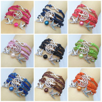 Wholesale Cute Lobsters - 2018 New Fashion Cute Unique Silver-plated DIY Infinity Bird Goods Tree Leather Cute Bracelet Wholesale Free Shipping