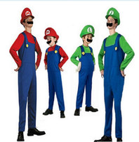 Wholesale mario bros brothers for sale - Super Mario Bros Cosplay Costume Set Adult Children Halloween Party MARIO Luigi Brothers Fancy Costume romper hat Beard KKA5689