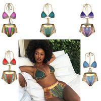 Wholesale High Waisted Bikini - Sexy South African golden halter high waisted bikini high waist swimsuit two pieces swimwear women bathing suit GGA323 50sets