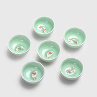 Wholesale bone china teapots - Chinese Tea Cups Porcelain Celadon Fish Teacup Set Loose Leaf Teapot Drinkware Oolong Tea Ceramic China Kung Fu Tea Sets