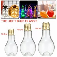 Wholesale fruit gifts - Top Quality 100 400 500ml Innovative Light Bulb Fruit Juice Bottles Portable Cute Juicer Milk Water Bottle Colorful Drink-ware For Gifts