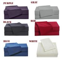 taie d'oreiller 4pcs achat en gros de-4pcs famille literie ensemble comprennent lit drap housse drap plat deux taie d'oreiller doux pour la peau plaine ensemble de literie