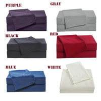 Wholesale purple cotton bedding sets resale online - 4pcs Family Bedding Set Include Bed Fitted Sheet Flat Sheet Two Pillowcase Soft Skin Friendly Plain Bedding Set