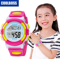 Wholesale pin electronics - Colorful design fashion girls boys sport led digital watch COOLBOSS electronic Multifunction children gift party Kids watches