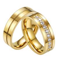 pärchen kanalringe groihandel-Hochzeitspaar Ringe für Frauen Männer Liebhaber 316L Edelstahl Band Ring Silber / Gold Farbe Ringe Kristall Zirkon Kanal Einstellung Schmuck