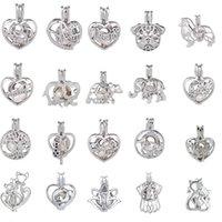 güzel sevgililer günü toptan satış-Gümüş Inci Kolye Oyster Inci Kafes Kolye Gümüş Kolye Güzel Lady Charm Sürpriz sevgililer Günü Hediyesi