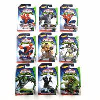 heiße räder fahrzeuge großhandel-Hot Wheels Auto MARVEL Ultimative Spider Man Sinister6 Collector's Edition Metalldruckguss Autos Kinder Spielzeug Fahrzeug Für Geschenk 10 teile / satz