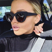 marcos de gafas de ojo de gato grande al por mayor-[EL Malus] Big Cat Eye Frame Diseñador de la marca UV400 Gafas de sol Mujeres Gris Negro Espejo Sexy para mujer Gafas de sol Mujer Oculos tan del SG040