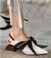 dantel kravat ilmi pembe ayakkabılar toptan satış-Moda Şık Benzersiz Tasarım Ile Garip Topuk Muller Terlik Ayakkabı Papyon Lace Up Sivri Burun Slingback Parti Sahne Ayakkabı Kadın Boyutu 34-41