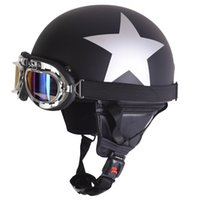 Wholesale Motorcycle Half Helmet Yellow - Unisex New Vintage Star Stripes Motorcycle Helmets Open Face Half Motorbike Helmet Capacete with Goggles Sun Shield Necklet