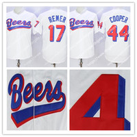 Wholesale cheap jerseys free shipping - Men's stitched Cheap BASEketball Beers Movie #17 Doug Remer #44 Joe COOP Cooper BASEketball Button Baseball Jerseys Free Shipping