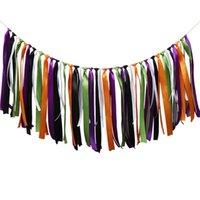 bayrak şeridi toptan satış-Cadılar bayramı Şerit Afiş Bayrak Flama Bunting Doğum Günü Partisi Bar Süslemeleri Cadılar Bayramı Renkli Parti Doku Püsküller Dekor