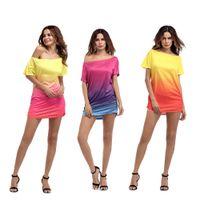 Wholesale wholesale peplum long sleeve top - Gradient Color Tshirts Summer Women Long Candy Colors Tees Short Sleeved Milk Silk Tops Clothing