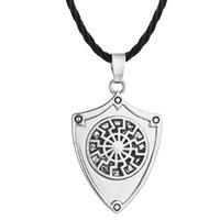 ingrosso 925 collana solare-5pcs / lot Argento antico Collana pendente ciondolo amuleto nero ciondolo del sole vichingo collane gioielli vecchio regalo norreno