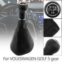 deri vites topuzu kapakları toptan satış-5 Hız Siyah Plastik + PU Deri Araba Manuel Vites V4 Golf MK4 Bora için Toz Kapağı ile Hentbol Topuzu POLO CIA_30G