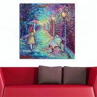 abstrakte gemälde mädchen großhandel-Abstraktes Ölgemälde-Mädchen mit Regenschirm-Segeltuch-Kunst-Malereien für Wohnzimmer-Wand kein Rahmen-dekorative Bilder