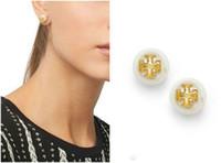 orelhas de ouro 18k venda por atacado-Venda Pérola Beads Brinco 18k Banhado A Ouro Brincos Para As Mulheres Top Quality Jóias Vermelho / Azul / Preto / Branco / Âmbar Brincos De Cristal Austríaco