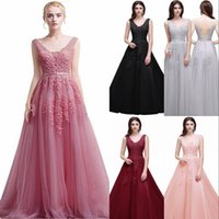 6674496cf Wholesale double v evening gown online - Babyonline Women s Double V Neck  Tulle Appliques Long