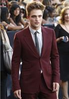 costume skinny bordeaux achat en gros de-Custom Made Burgundy Men Suit Slim Fit Skinny 2 Pièces Tuxedo Custom Costumes De Bal Gentle Party Blazer (Veste + Pantalon)