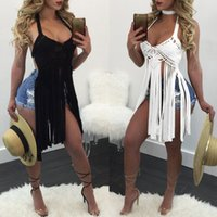 cubra el traje de baño al por mayor-Traje de baño con cuello en v para mujer Traje de baño de crochet Cubre la camiseta de playa