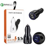 Wholesale Faster Apple - For Samsung Galaxy S9 QC 3.0 Fast Car Charger 3.1A Quick Charge Dual Usb Port For iPhone X With Retail Package