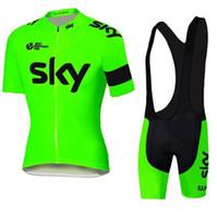 тур франшизы короткие рукава велосипедные майки оптовых-Tour De France Sky Team трикотажные изделия велосипед одежда велоспорт Джерси с коротким рукавом велоспорт колготки + нагрудник брюки велоспорт skinsuit продажа